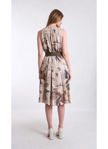 JEANNE D'ARC A Form Desenli Beli Kuşaklı Keten Kumaş Elbise Je545317 Haki